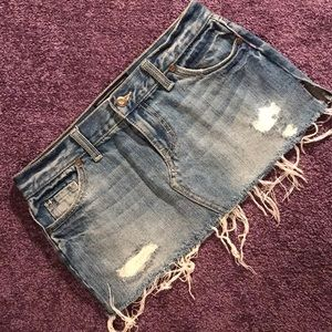 PINK Victoria's Secret Jean Mini Skirt Distressed